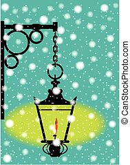 Lamp In the Snow - A lit gaslight in a winter downfall of...