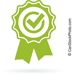 Green approval certificate isolated on white background