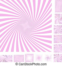 Pink spiral background set - Pink and white vector spiral...
