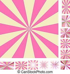 Pink yellow ray burst background set - Pink and yellow...
