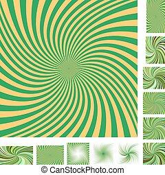 Green yellow spiral background set