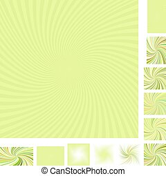 Lime yellow spiral background set
