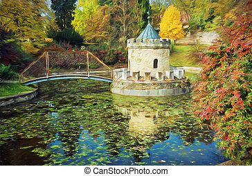 Turret in Bojnice, Slovakia, autumn park, illustration with...