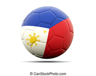 Football with flag of philippines 3D illustration