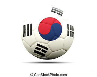 Football with flag of korea south 3D illustration