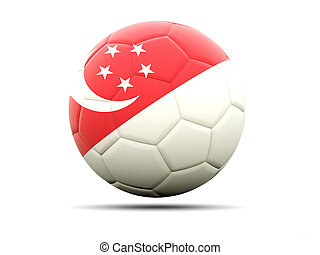 Football with flag of singapore 3D illustration
