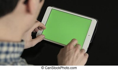 Typing on a Virtual Keyboard of Tablet Mock Up - Typing on a...