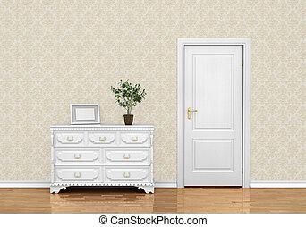 Modern hallway with door 3d render