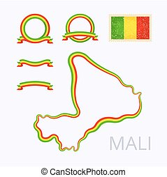 Colors of Mali - Outline map of Mali Border is marked with...