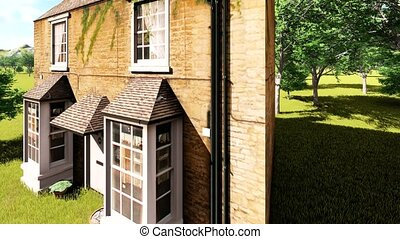 english village house cirmscribed by cedar trees
