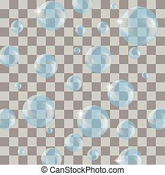 Set of Transparent Blue Soap Bubbles