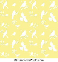 Vector Collection of Bird Silhouettes on a yellow...