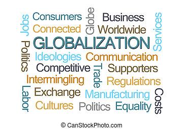 globalização, palavra, nuvem,