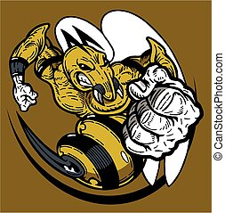 hornet mascot - mean hornet or wasp mascot for school,...