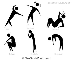 Illness Stick Figures Set - An image of illness stick...