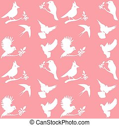Vector Collection of Bird Silhouettes on a pink background.