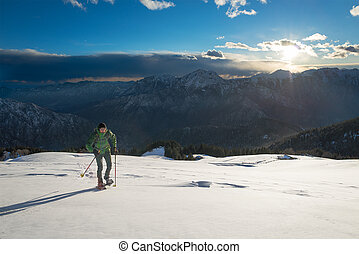 Sports training in a beautiful winter landscape - Sports...