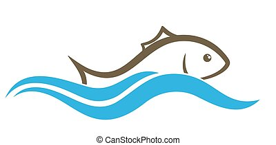 Logo of fish with wave.