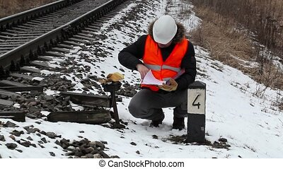 Railroad worker with documentation near railway