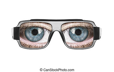 glasses with the eyes.