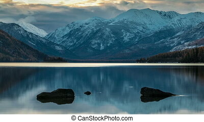 Mountain lake landscape. Time lapse.