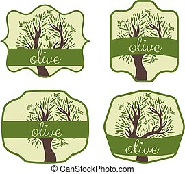 Illustration set of label with olive tree. Vector