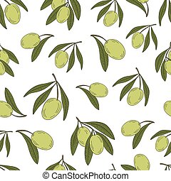 Pattern with branches of the olive tree.