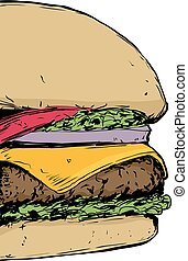 Close up on Cheeseburger - Cropped close up view on...