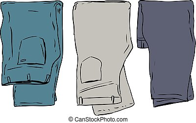 Folded Over Pants - Simple illustration of three pairs of...