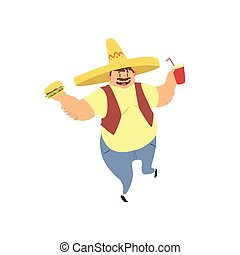 Fat Guy In Mexican Hat Flat Vector Cartoon Style Funny...