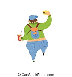 Fat Guy Walking Away Flat Vector Cartoon Style Funny...