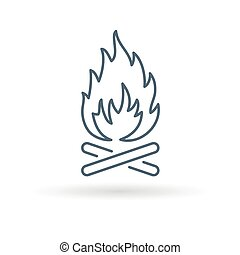 Wood fire icon. Outdoor bonfire symbol. Camp fire sign.