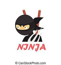 Ninja Cartoon Style Icon - Ninja Cartoon Style Flat Vector...