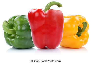 Red yellow green bell pepper peppers paprika paprikas...