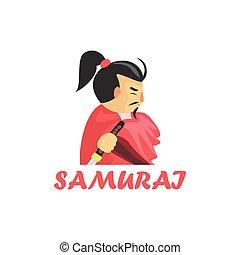 Samurai Cartoon Style Icon - Samurai Cartoon Style Flat...