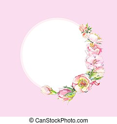 Round frame with pink watercolor flowers. Frame of dog rose flowers, cherry blossoms or peonies.Suitable for invitations, postcards. Free space for text.