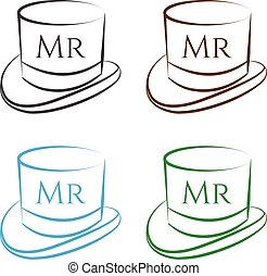 vector set of  hats