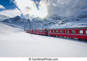 Swiss mountain train Bernina Express crossed through the...