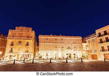 Palace Square in Monaco at night. Monaco-Ville, Monaco.