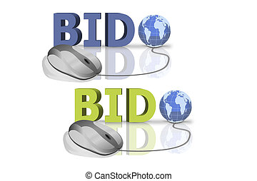 bid online - bid in red and blue letters connected with...