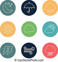 set of vector weather flat icons