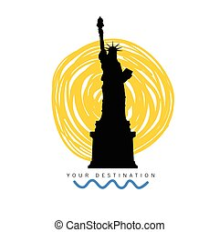 travel destination with statue of liberty illustration in...