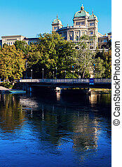 Bundeshaus in Bern - Bundeshaus and Aare River in Bern....