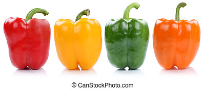 Collection of bell pepper peppers paprika paprikas in a row...