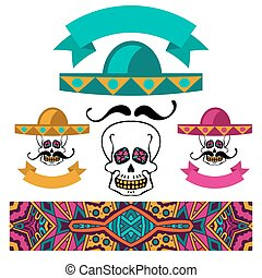 abstract ethnic festive mexican symbol set