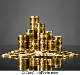 gold - still life of very many rouleau gold monetary or...