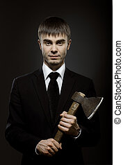 businessman - portrait the businessman in black costume and...