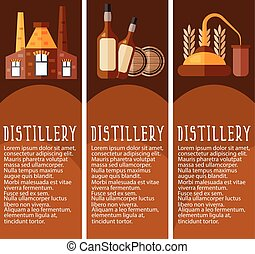 Set of banner for distillery industry with distillery...