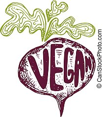 Illustration of hand drawn beetroot with text vegan. Vector