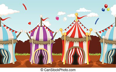 circus tent seamless background - vector illustration of...